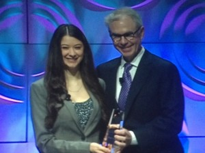 Elana Simon receiving the Junior Champion Cancer Research Award, AACR 2014