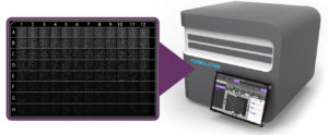 Formulatrix constellation instrument with close-up of a 96-well consumable digital PCR plate