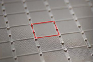 Close-up photograph of a single sample gridded digital PCR partitions.