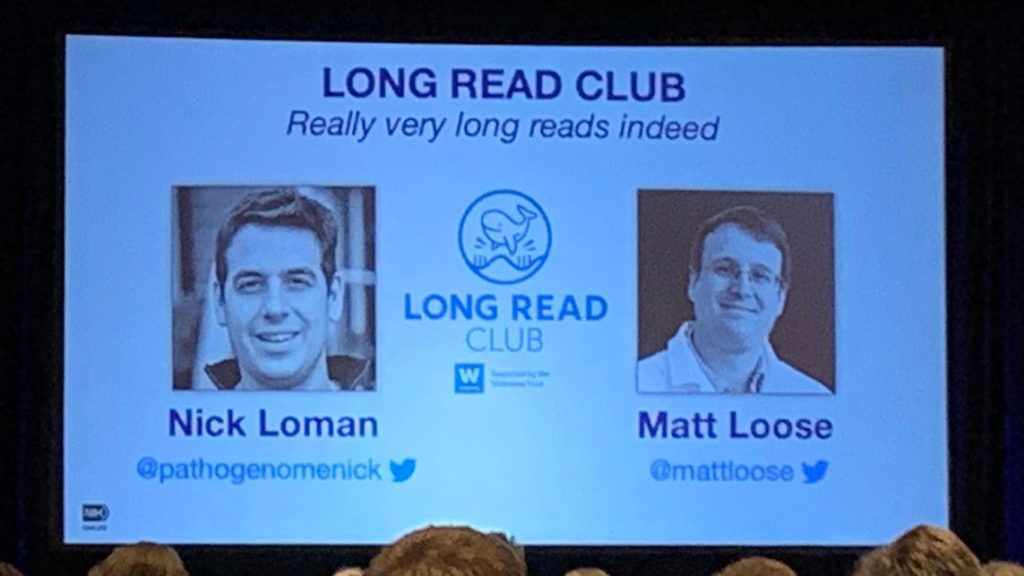 Adam acknowledging Nick Loman and Matt Loose in his talk