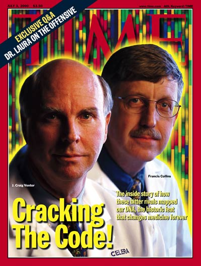 Time magazine cover of Craig Venter and Francis Collins