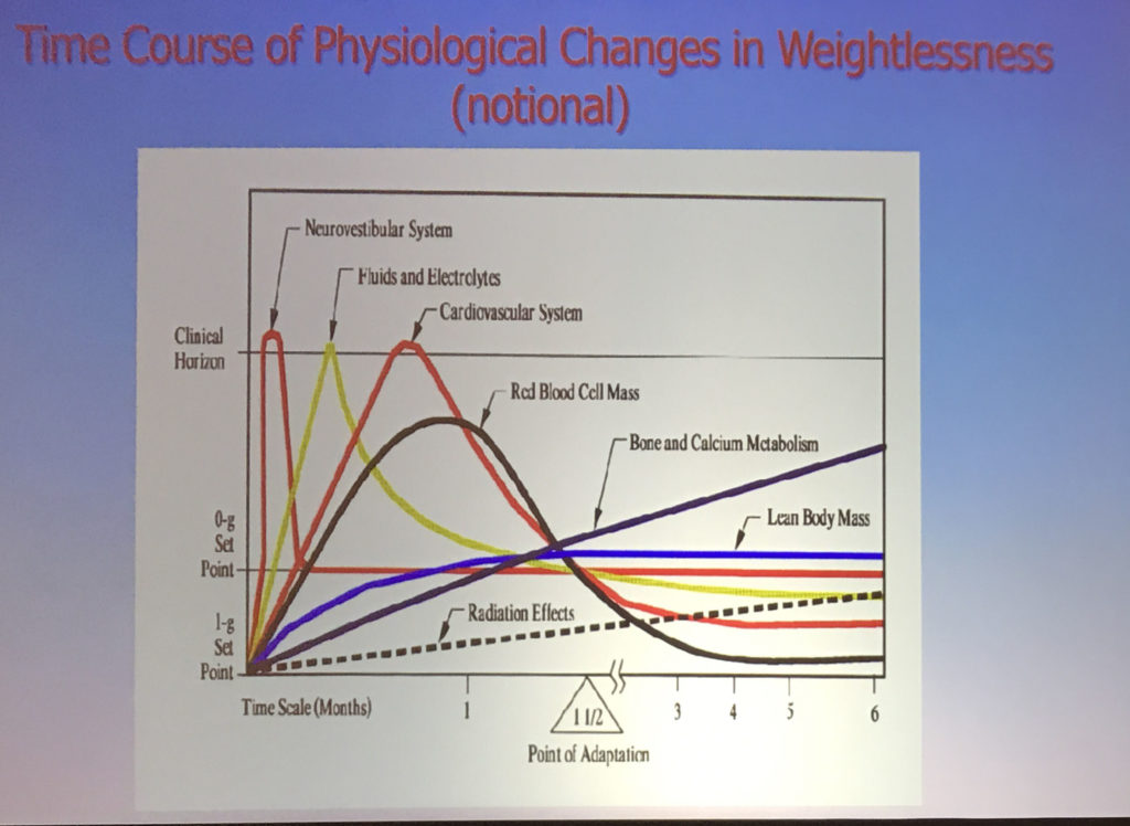Time course of physiological changes in weightlessness (notional)