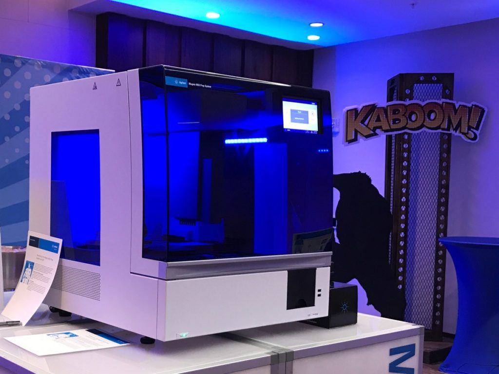 Photo of the Agilent Magnis NGS Prep system at #AGBT19