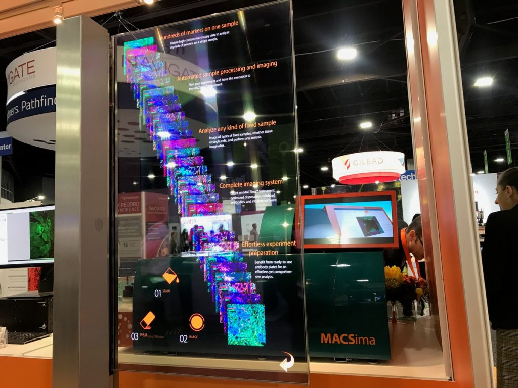 Photo of the Miltenyi Biotec MACSima at #AACR19, transparent LCD overlay not included