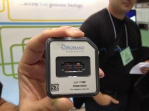 BioNanoGenomics' chip, shown at ASHG Boston 2013