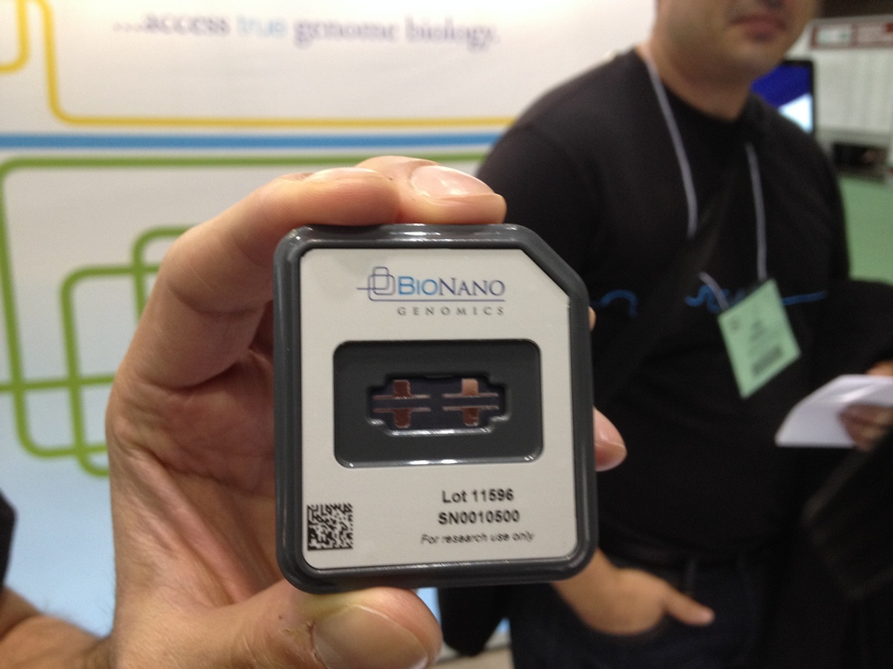 BioNanoGenomics' chip, shown at ASHG Boston 2013